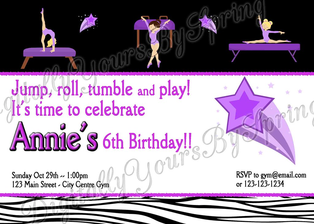 Printable Gymnastics Birthday Invitation