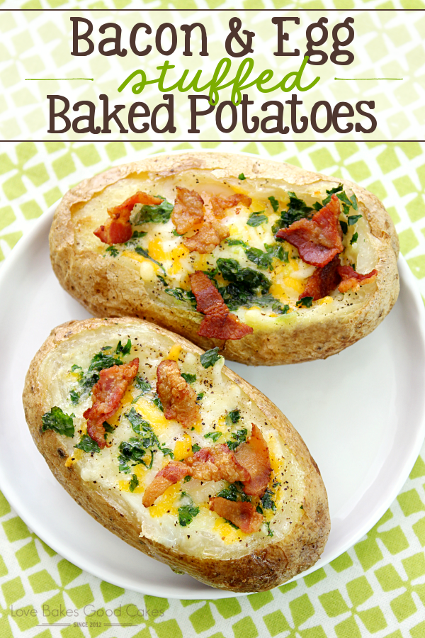 Bacon & Egg Stuffed Baked Potatoes on a white plate.