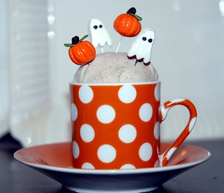 Teacup Pin Cushion with Handmade Clay Pins from Ruth(Thread of Hearts) | by Sew Green