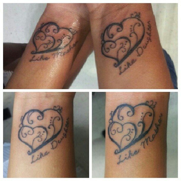 Cute Mother Daughter Affectionate Tattoos: Like Mother Like Daughter Matching Tattoos