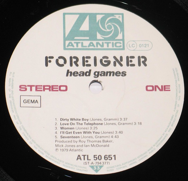 "Foreigner Head Games White Label 12"" vinyl lp"
