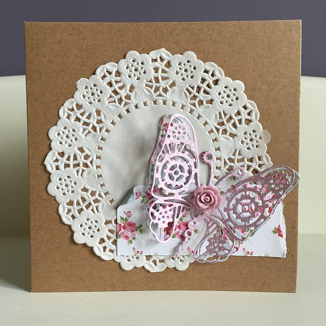 Butterfly shabby chic rose card by StickerKitten