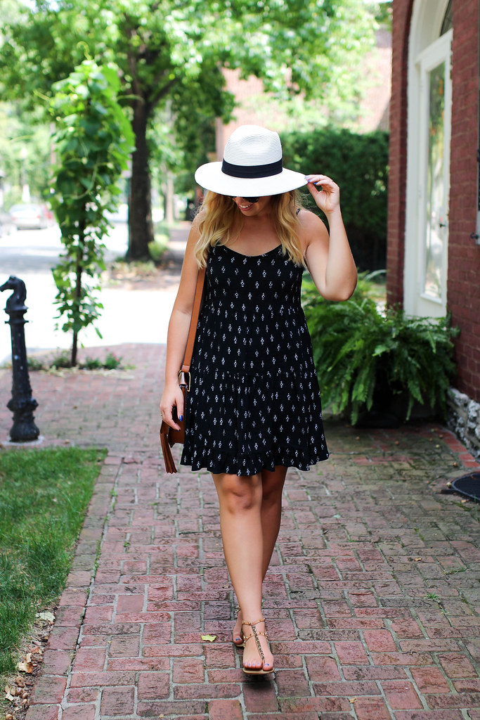 Easy Summer Vacation Exploring Outfit | Panama Hat Black Cotton Dress Travel Lexington Kentucky Gratz Park Pink House Living After Midnite Jackie Giardina