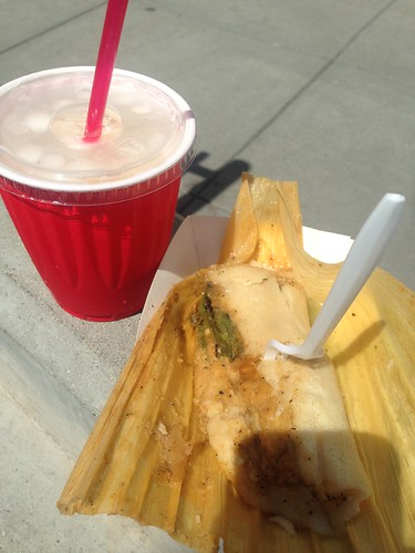 Tamale and a cup of horchata | by *FrogPrincesse*