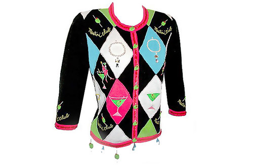 Jack B Quick Tacky Girly Martini Bling Ugly Sweater | by TheUglySweaterShop