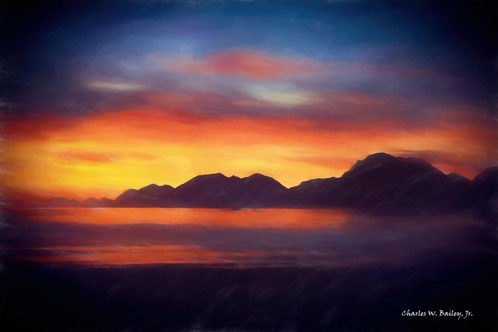 Digital Pastel Drawing Of A Sunset At Adak Island By Charl