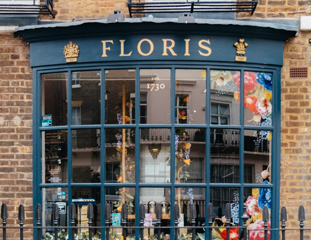 exterior of floris shop on ebury street, belgravia, london