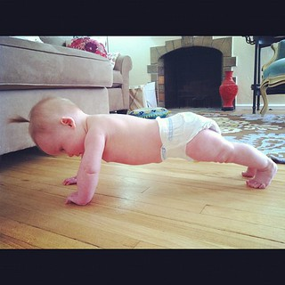 Lydia is doing her push ups again. Good form. #crazyaunt | by knittinglemonade