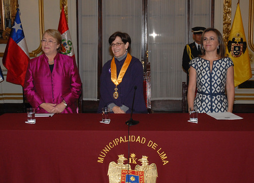 UN Women Executive Director Michelle Bachelet and Vanda Pignato, First Lady and the Secretary of Social Inclusion of El Salvador, are honored by Lima's Mayor Susana Villarán | by UN Women Gallery