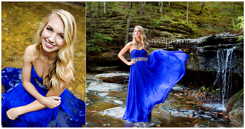 High School Senior Girl In Blue Prom Dress At Waterfall Flickr