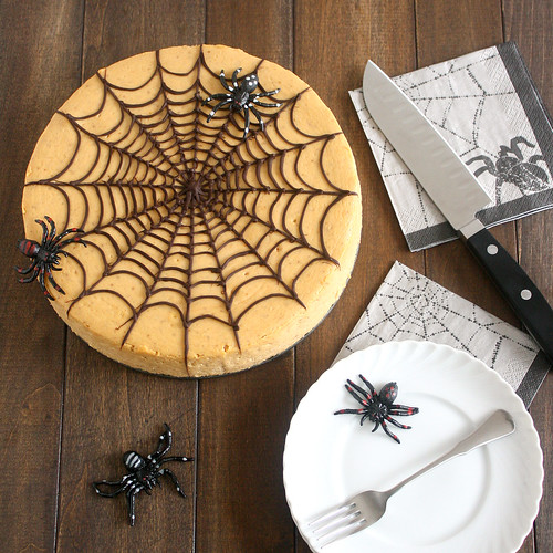 Spiced Pumpkin Spiderweb Cheesecake | by Tracey's Culinary Adventures