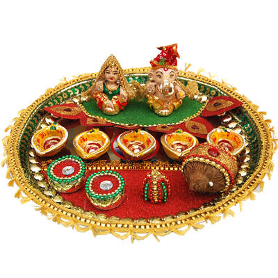 Diwali pooja thali decoration ideas tips and ideas about for Aarti thali decoration with pulses