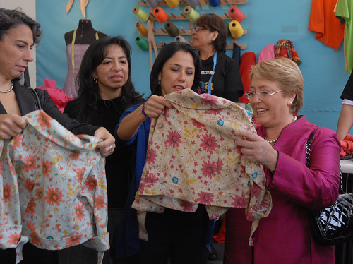 UN Women Executive Director Michelle Bachelet visits the textile production and trade center of Gamarra in Lima, Peru, on 16 October 2012 together with Peruvian First Lady Nadine Heredia | by UN Women Gallery