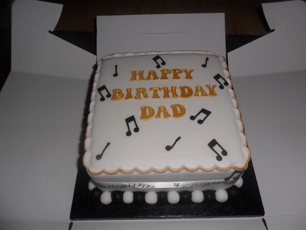 Happy Birthday Gold Black Musical Note Dad Birthday Cake Flickr