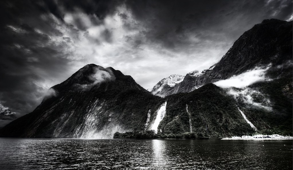 Milford sound waterfall in black and white by stuck in customs