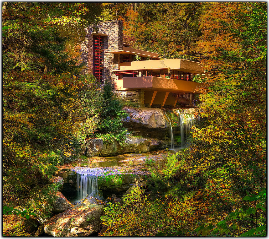 Frank lloyd wright 39 s fallingwater fallingwater is the for House built on waterfall