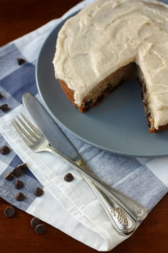 Banana Chocolate Chip Cake with Brown Butter Icing | by Completely Delicious