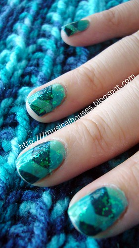 teal fishtail braid manicure 2 | by musicalhouses