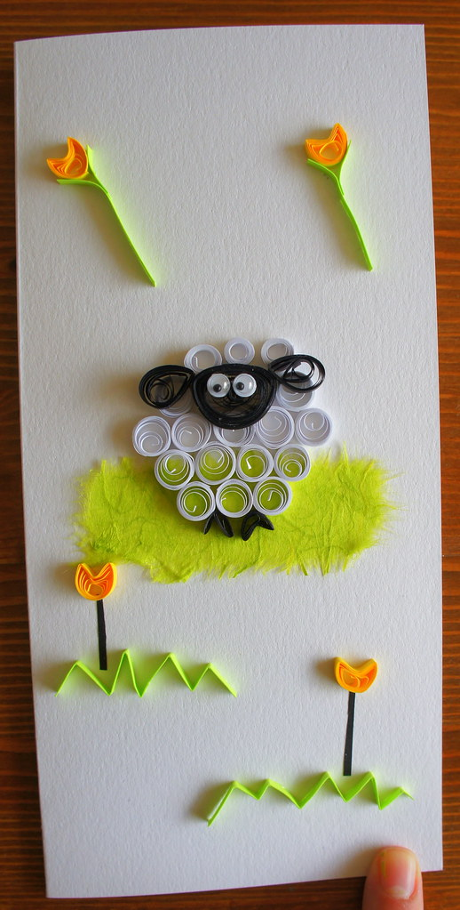 quilled sheep birthday card