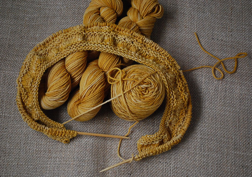 tea leaves cardigan in progress with naturally dyed yarn | by Herb Knitter