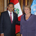 UN Women Executive Director Michelle Bachelet meets with Peruvian President Ollanta Humala Tasso during her two-day visit to the country on 16 October 2012