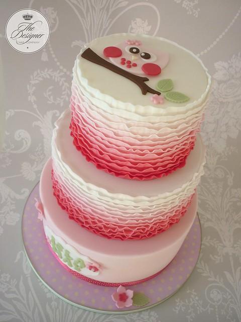 Cake Design Company Noida : Owl ruffle christening cake Flickr - Photo Sharing!