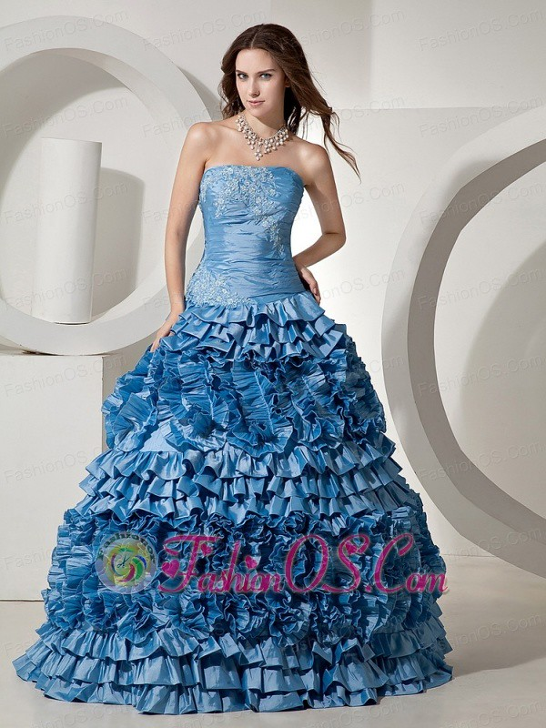Ruffled Layers Appliques and Ruch For Quinceanera Dress fa ...