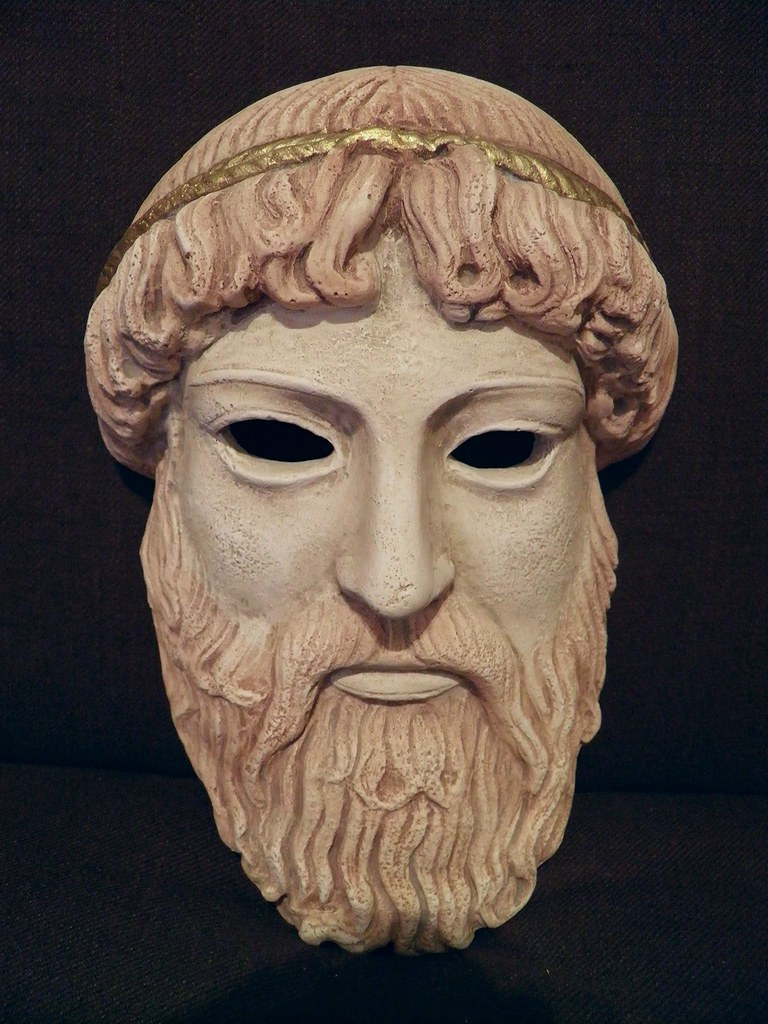 Ancient greek theatrical mask of zeus replica as theatric