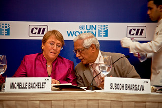 UN Women Executive Director Michelle Bachelet attends a CII luncheon meeting with leaders in India | by UN Women Gallery