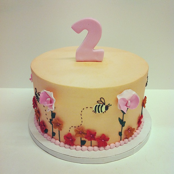 Fall Flower Birthday Cake Austin Customcake Polkadotscupcakefactory