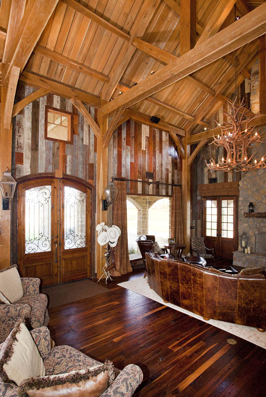 Timber frame home great room texas timber frames flickr for Ranch timber frame homes