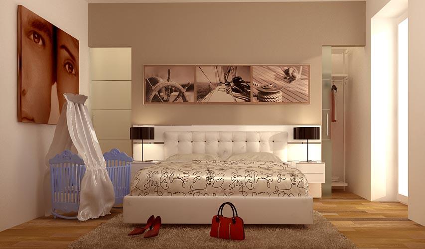 Progettare camera da letto render fotorealistico - Letto matrimoniale piccolo ...