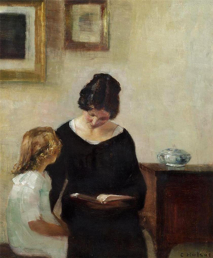 Carl Vilhelm Hols 248 E Interior With A Mother Reading Aloud