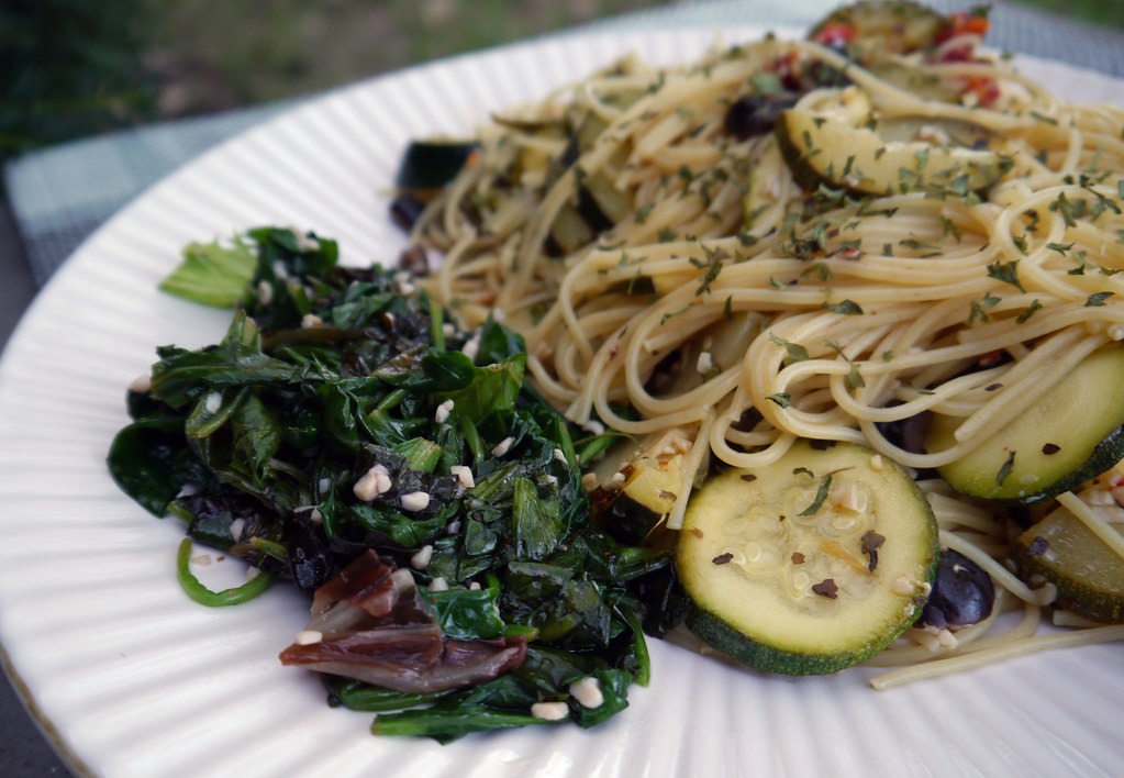 Spaghetti With Garlicky Greens Recipes — Dishmaps