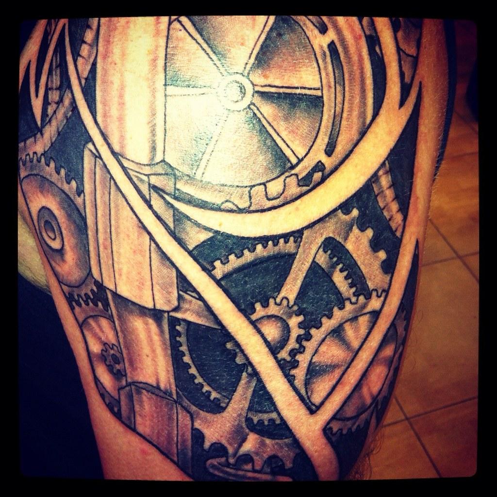 Mechanical 1 4 sleeve by mike barrs old buffalo tattoo for 1 4 sleeve tattoo