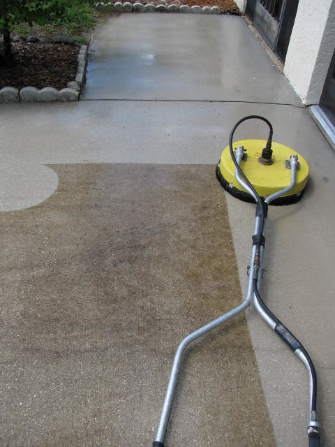 Cement surface cleaning driveways walks parking lots sw for Cement surface cleaner