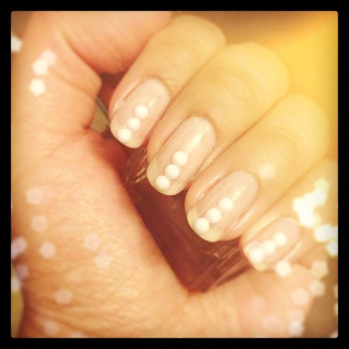 Simple DIY manicure // tiny AB white rhinestones over OPI ...