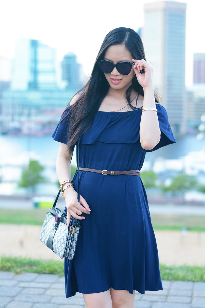PinkBlush maternity navy off the shoulder dress