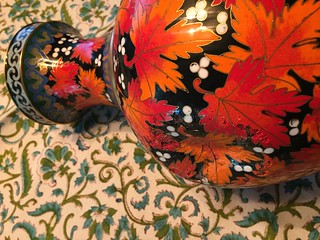 Chinese cloisonné vase smashed in an earthquake