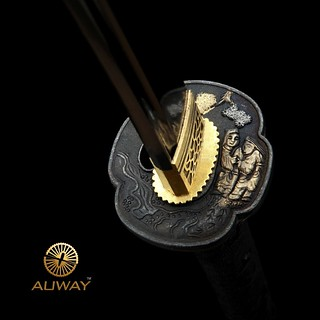 Auway-samurai-sword- Characters-Tsuba-Black-scabbard-3