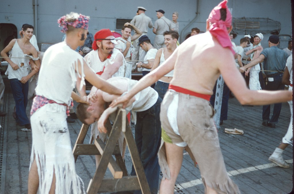 crossing the equator  shellback initiation aboard the uss