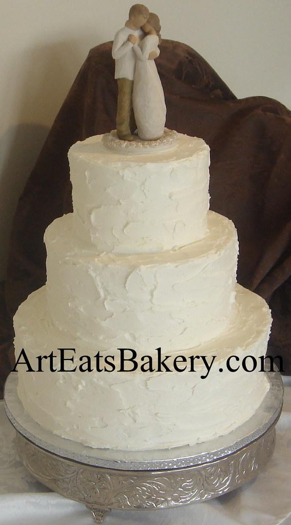 3 Tier White Stucco Butter Cream Romantic Elegant Wedding
