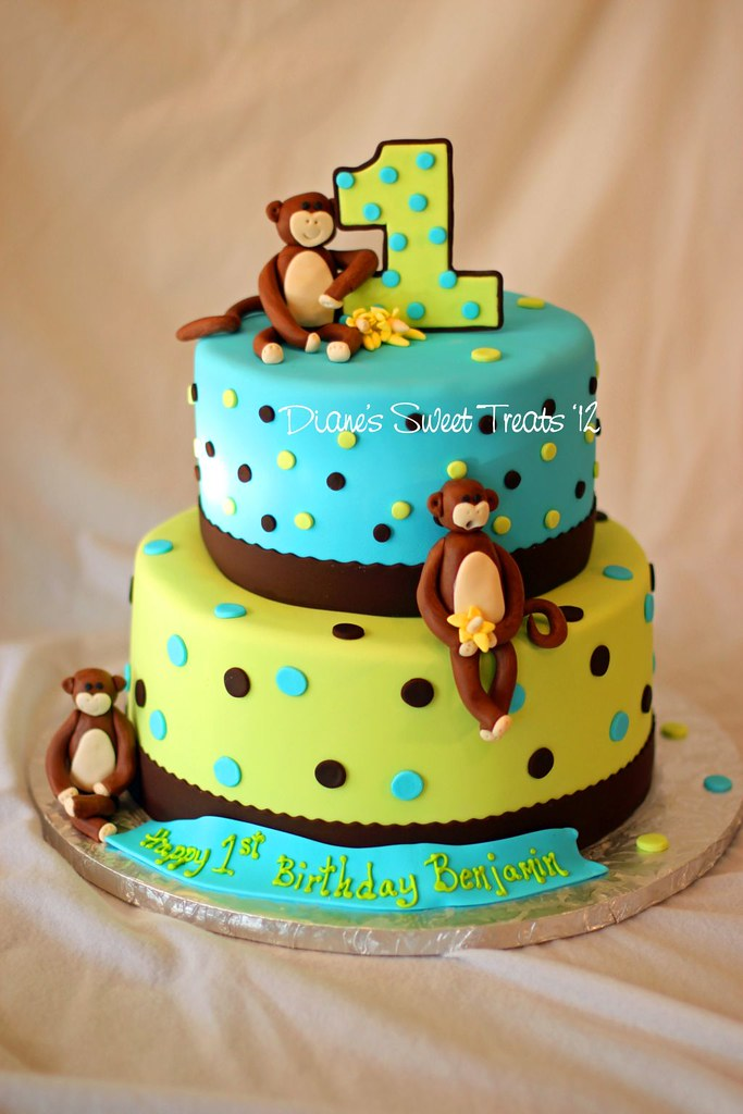 Monkey Cake Design Easy : Benjamin s first birthday cake When Benjamin s mom sent ...