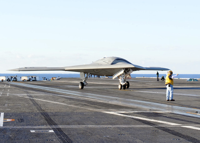 The X-47B taxies aboard USS Harry S. Truman. - Flickr - Photo Sharing!