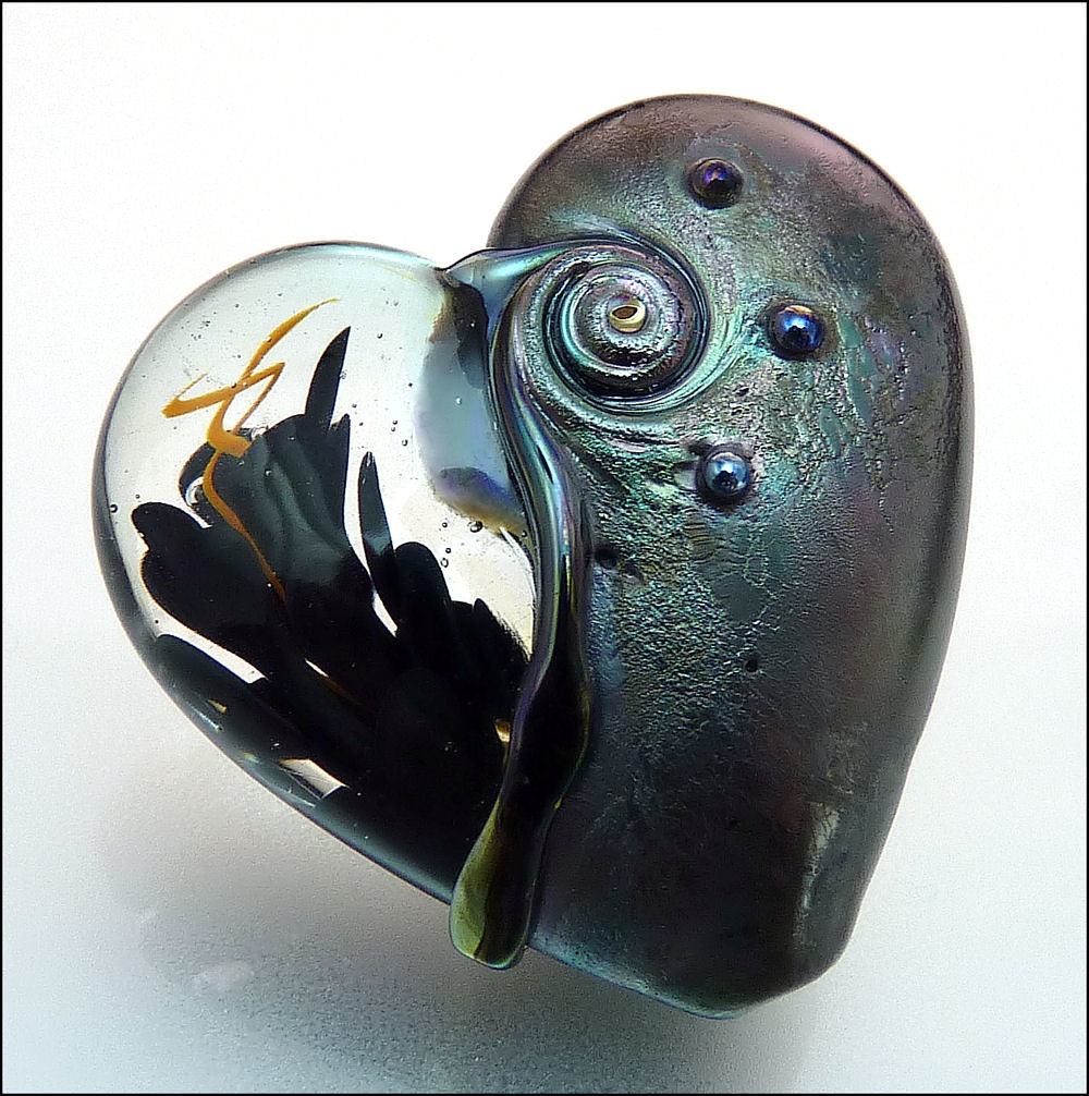 Realistic Knife In The Heart Drawing: Lampwork Heart Pendant Focal Bead