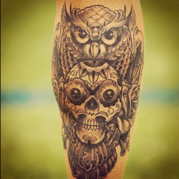 Owl Skull Rose Tattoo