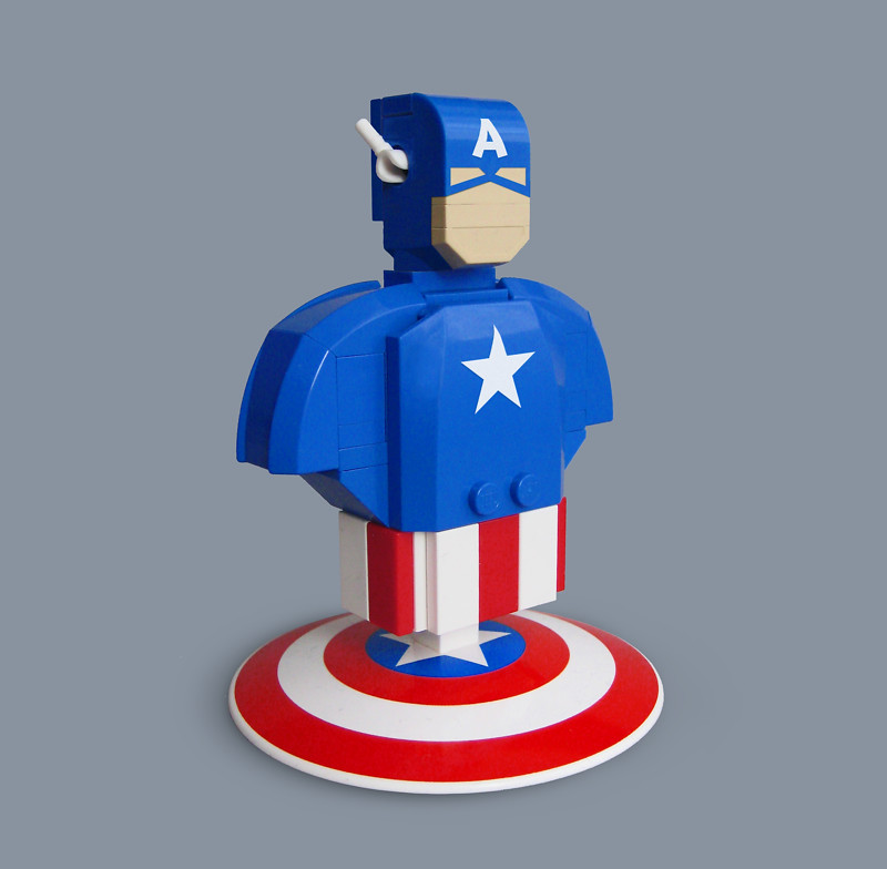 Lego captain america bust quick fun and stylized renditio flickr - Lego capitaine america ...