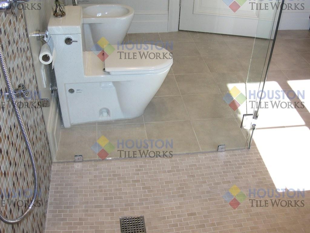 Glass Bathroom Tile High End Bathroom Glass Tile Installa Flickr - Bathroom tile houston