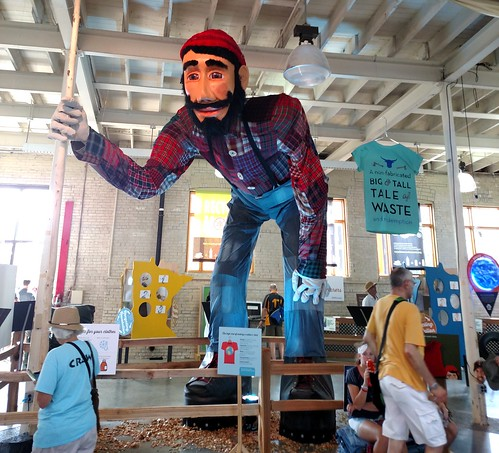 The giant Paul Bunyan, clothed completely in recycled clothes and fabric. He teaches us to recycle and reuse.