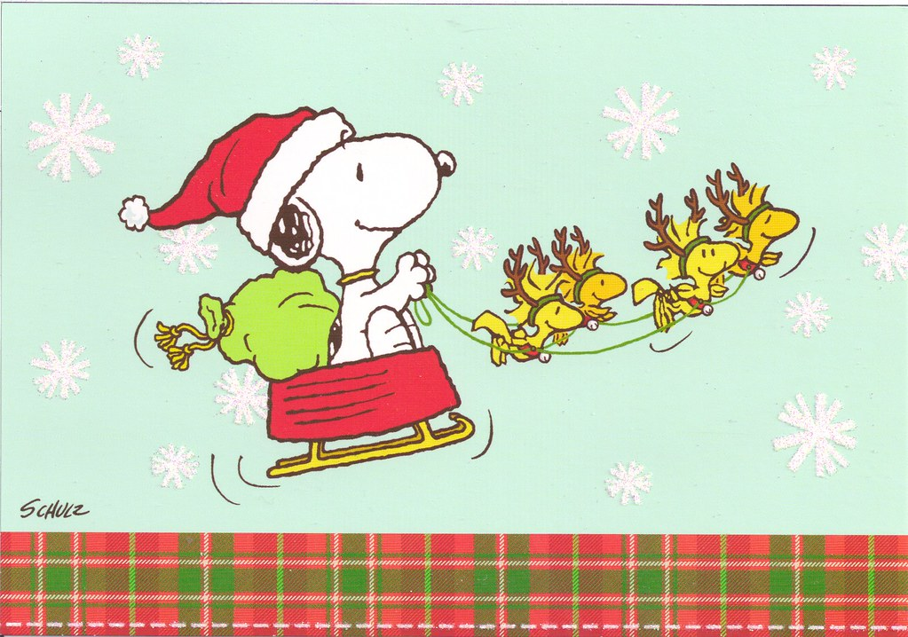 snoopy christmas sleigh by mailbox happiness angee at postcrossing